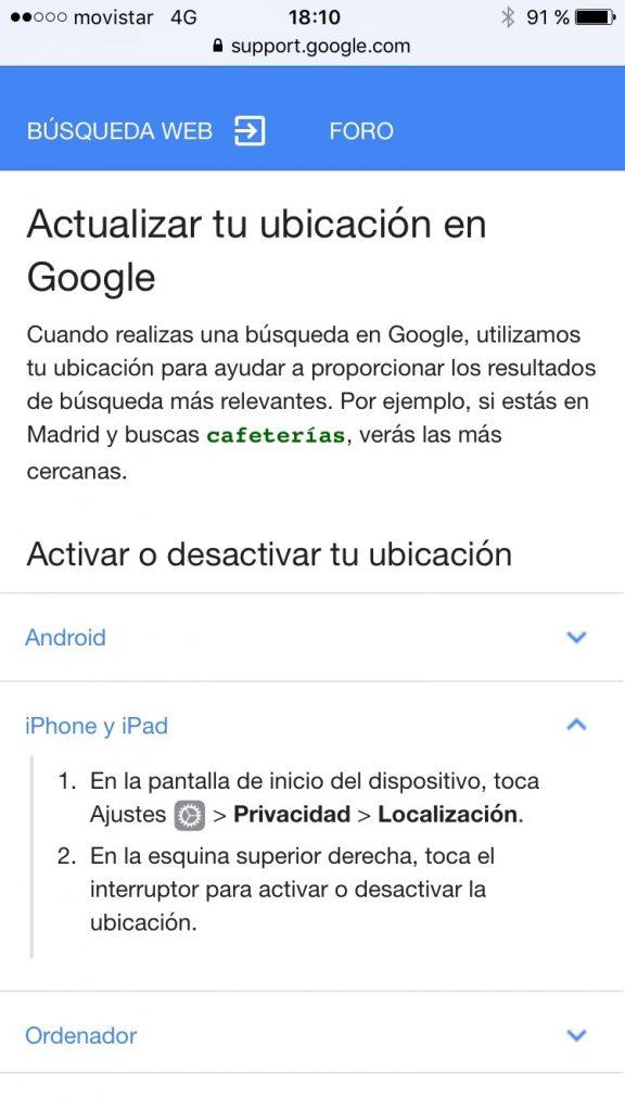 Soporte Localización Google