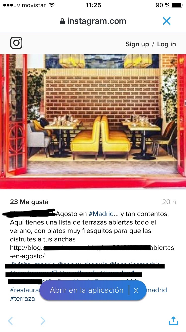 Mala Praxis Social Media en Instagram