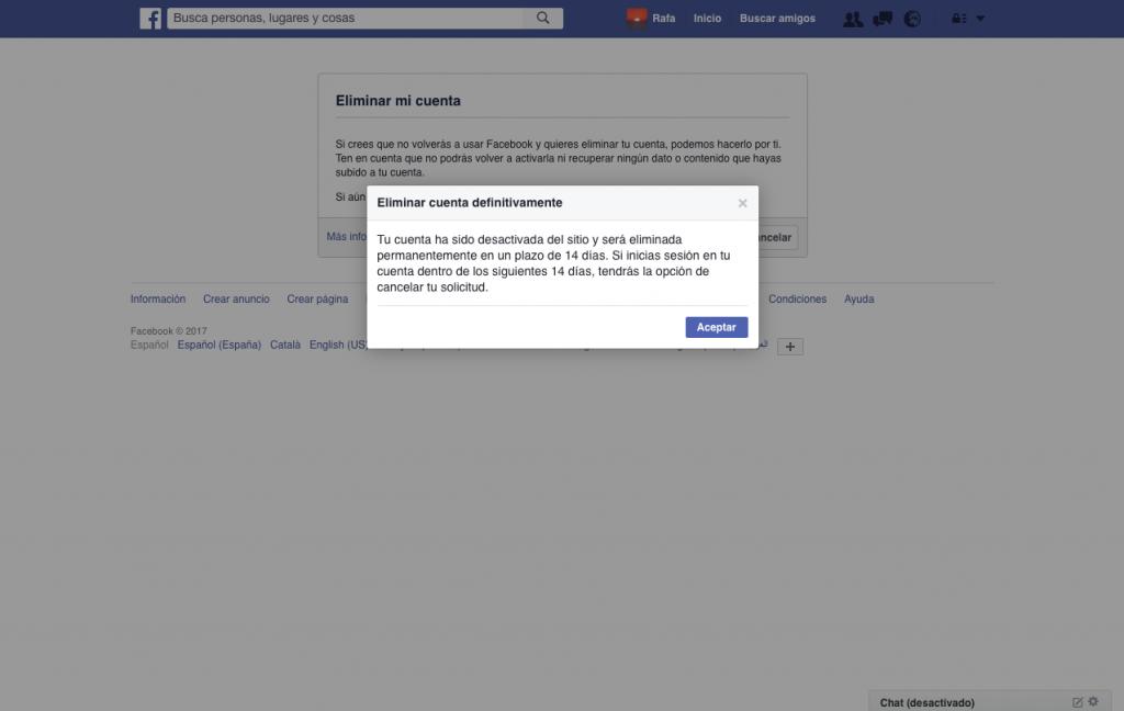 Eliminación cuenta de Facebook - Rafael Hormigos