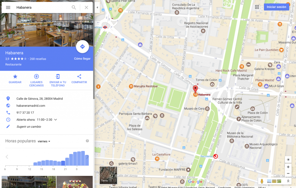 Google Maps - Afluencia Rafael Hormigos