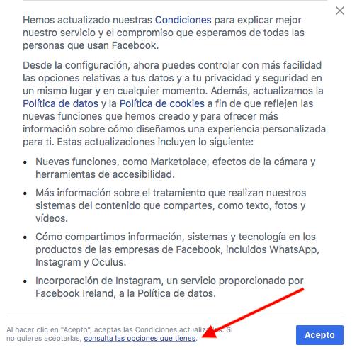 Opciones de Facebook al RGPD